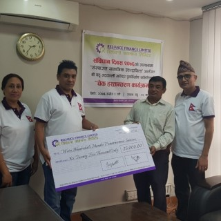 Reliance Finance Limited handed check to Shri Aetu Bhadrakali Temple Reconstruction Committee